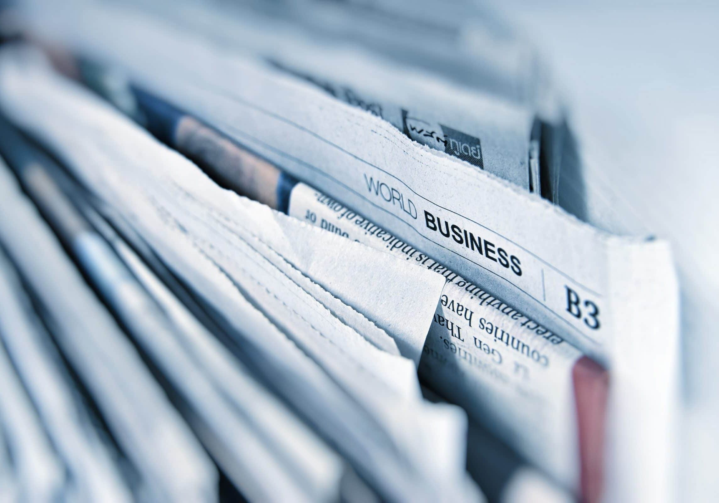 Close up of newspapers